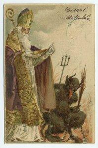 The Krampus - helper of St. Nicholas who punishes naughty children  http://www.krampus.com/who-is-krampus.php
